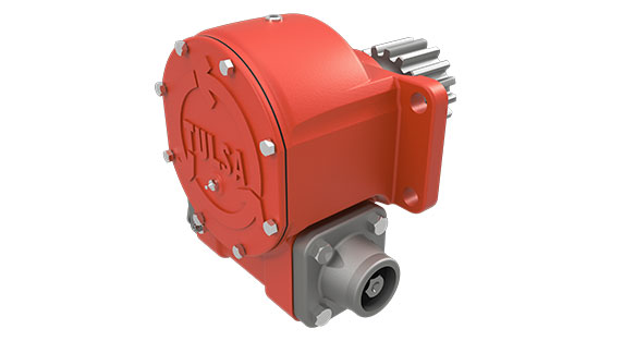 Tulsa Winch HFG1642D hydraulic worm gear drive winch on white background