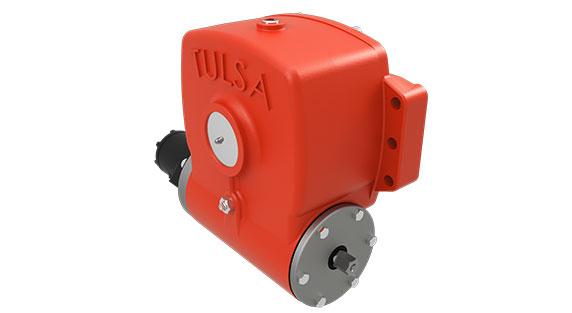 Tulsa Winch HFG2030D hydraulic worm gear drive winch on white background