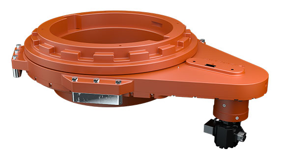 Rufnek rotary table drive used in the oil and gas industry on rigs on a white background