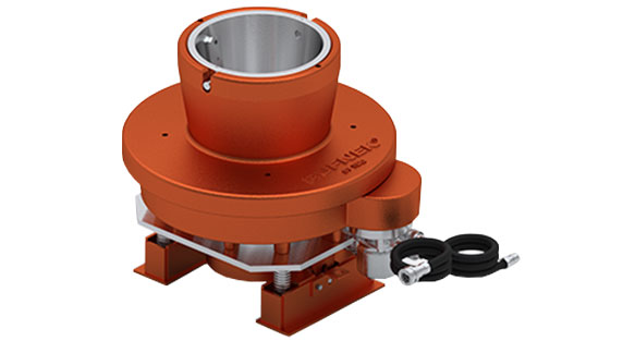 Rufnek rotating mousehole for use in the oil and gas industry on rigs on a white background