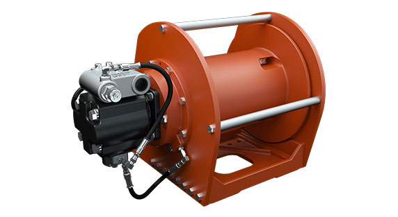 Tulsa Winch TH1200 Planetary Hoist for use on Mobile Cranes on a white background