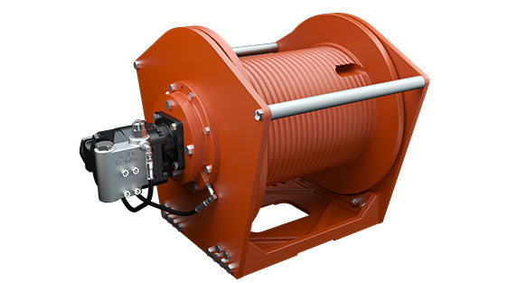 Tulsa Winch TH2100 Planetary Hoist is used in multiple applications including mobile cranes on a white background