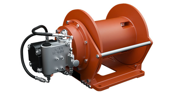 Tulsa Winch TH800 Planetary Hoist used in the construction and infrastructure industry on a white background